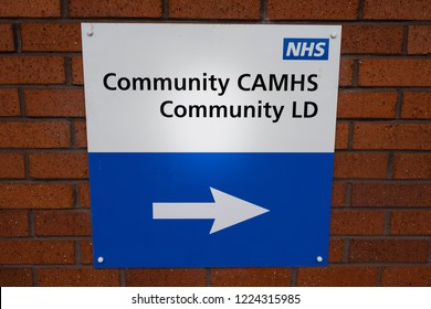 Dragon Square, Newcastle, Staffordshire 7th - November - 2018 - The NHS Community Camhs team sign, mental health clinic, Stoke on Trent