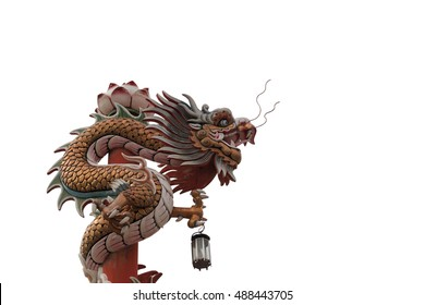 Dragon statue is animal based on the belief of the Chinese people,on white background