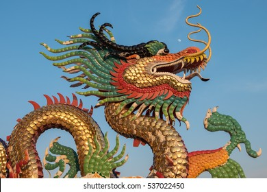 Dragon statue with blue sky,Thailand.