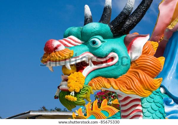 Dragon statue at a temple in Hua Hin, Thailand