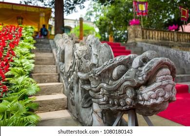 Dragon steps at Thang Long Citadel in Hanoi, Vietnam