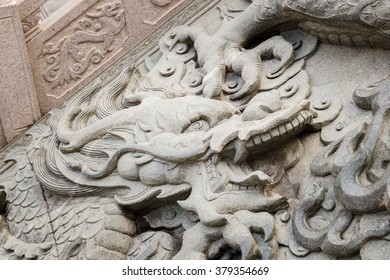 Dragon Stone Carving in chinese temple.