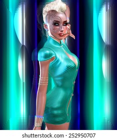 Dragon tattoo sci fi girl with futuristic outfit, Mohawk hairstyle and glowing abstract background. A white,turquoise and blue backdrop with glowing light effect enhances this modern digital art image