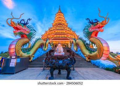 The dragon in Temple wat hyua pla kang (Chinese temple) Chiang Rai, Asia Thailand