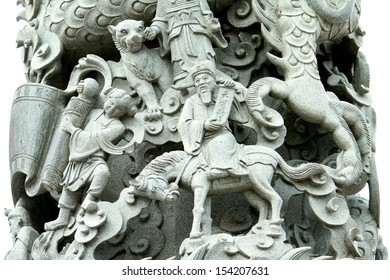 Dragon Village, Chinese Dragon Stone Carving Column Outside Taoist Temple in Suphanburi, Thailand