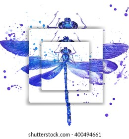 dragonfly T-shirt graphics design. wild animal watercolor illustration.