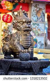 Dragon-headed unicorn called qilin or kylin Statue at Suphanburi city pillar shrine in Suphanburi, Thailand.