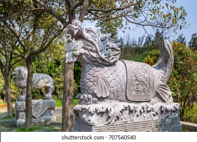 Dragon-headed unicorn called qilin or kylin is a mythical creature the Putuoshan, Zhoushan Islands,  a renowned site in Chinese bodhimanda of the bodhisattva Avalokitesvara (Guanyin)