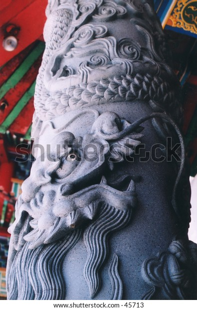 The dragon-sculptered pillar at a Chinese temple