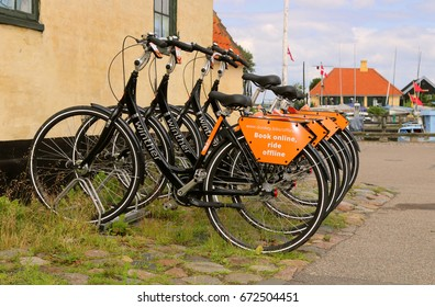DRAGOR, DENMARK - JULY, 5, 2017: Bike rental. Rent a bike. On the southeastern coast of the island of Amager. 12 km from central Copenhagen.
