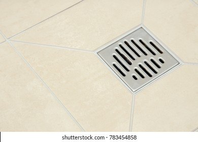 The drain in the shower