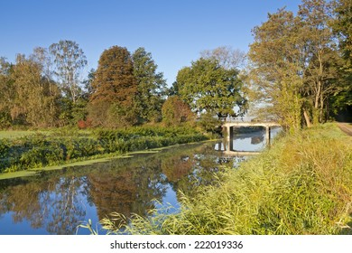 Drainage Canal int he autumn morning light. (Was seen near the village Berge, Brandenburg, Germany.)