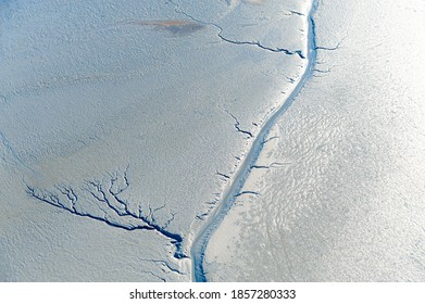 Drainage channels in tidal mud flat