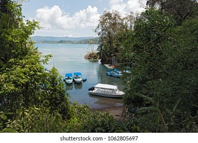 DRAKE BAY COSTA RICA-MARCH 12, 2017: Boats in the mouth of the Rio Agujitas in the Drake Bay, Costa Rica