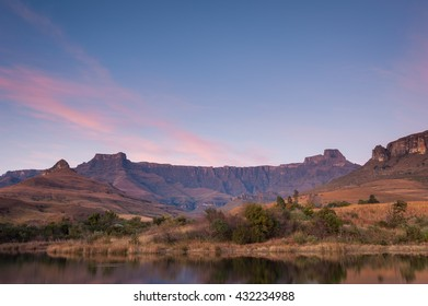 Drakensberg Amphitheatre on a beautiful morning at Royal Natal National Park in South Africa
