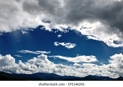 Drama cloud in the sky with mountain background