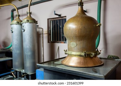 DRAMA, GREECE - NOVEMBER 15,2014: During traditional distillation of alcohol and production of homemade tsipouro/raki
