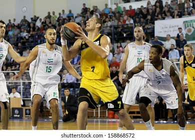 DRAMA, GREECE - OCT 12: Pelekanos of Aris (R) in action during the Greek Basket League game KAOD vs ARIS on October 13, 2013 in Drama, Greece