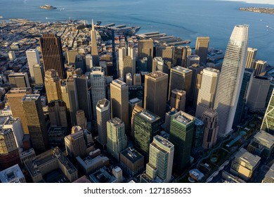 Dramatic aerial view looking down over San Francisco's SOMA neighborhood and Financial District