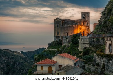 A dramatic after sunset sky over Savoca, the old small village in Sicily where F.F. Coppola filmed the wedding of Michael Corleone with Apollonia in his masterpiece, Godfather.