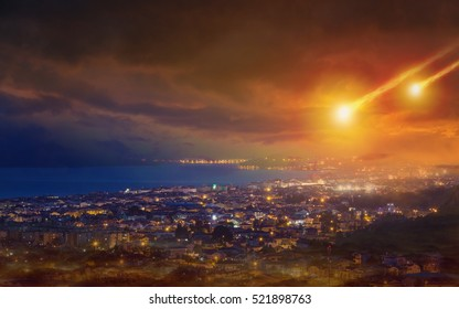 Dramatic apocalyptic background - judgment day, end of world, asteroid impact