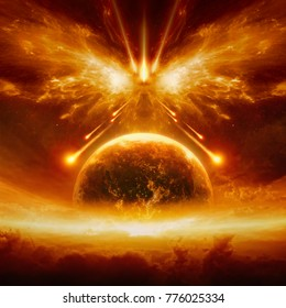 Dramatic apocalyptic background - judgment day, end of world, complete destruction of planet Earth, battle of armageddon, forces of evil destroy humanity. Elements of this image furnished by NASA