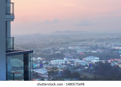 Dramatic atmosphere early morning sky image of beautiful cityscape of Huahin ,Thailand for travel graphic background use.