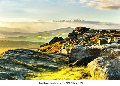 Dramatic and Atmospheric View from Stanage Edge in Peak District National Park, Derbyshire, England, UK