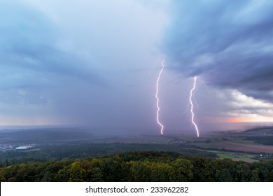 Dramatic Autumn Storm Landscape with Lightnings in Oberfranken, Germany. Evening in the rural countryside of Bavaria