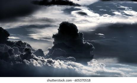 dramatic black tower cloud