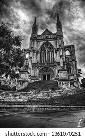 Dramatic black and white image of Anglican christian St. Paul's Cathedral in Dunedin. South Island, Otago region, New Zealand.