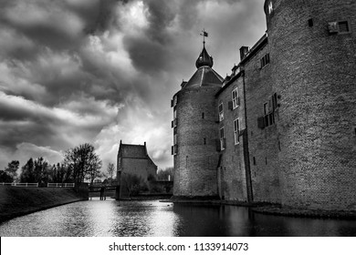 Dramatic Black and White of a Medieval Castle in Europe
