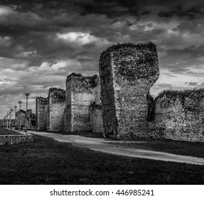 Dramatic black and white picture of old fortress