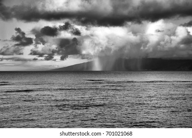 Dramatic Black and White Rain Storm Over Lanai from Maui, Hawaii