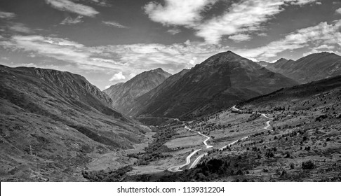 Dramatic Black and White of Road in the Pyrenees Mountains Between Spain and France