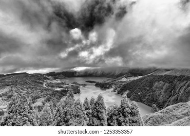 Dramatic black and white view of Sete Cidades, a massive ancient caldera on Sao Miguel in the Azores.
