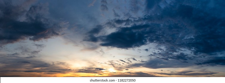 Dramatic blue sky and sunset with fluffy clouds texture background, panorama