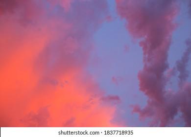 Dramatic, bright sky with Cumulus clouds before sunset, sunrise. - Shutterstock ID 1837718935