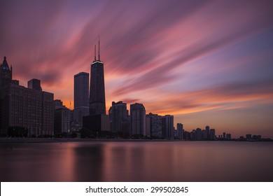 Dramatic Chicago skyline over Lake Michigan