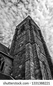 Dramatic church steeple in Glasgow, Ireland, in Black and White tone.