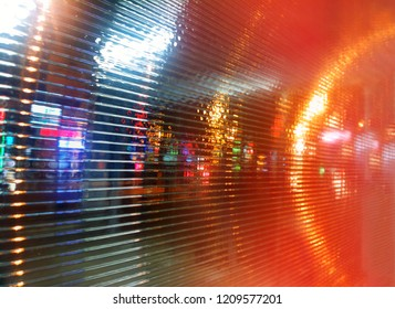 Dramatic city neon lights at night background