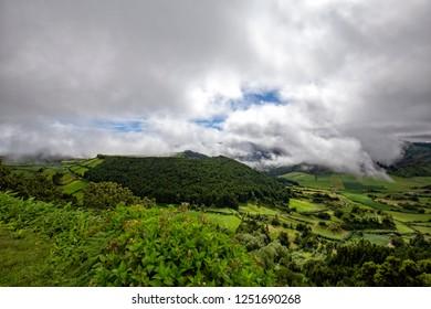 A dramatic cloud show above the Sete Cidades caldera in Sao Miguel, Azores.