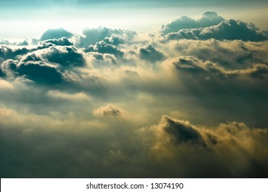 dramatic clouds from aerial shot
