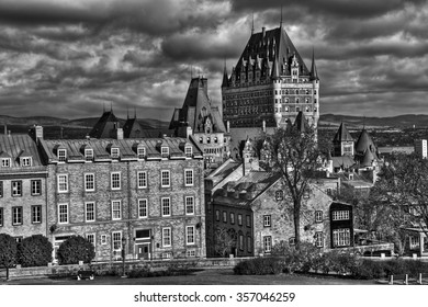 Dramatic clouds HDR in Old Quebec - Canada. Black and white High Dynamic Range picture.