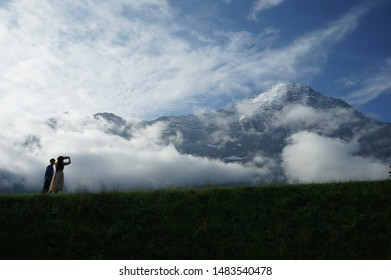 Dramatic clouds with mountain eiger in switzerland