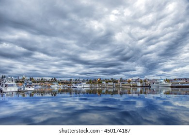 Dramatic clouds over the Everett Marina