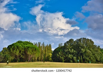 Dramatic clouds over a golf course