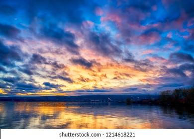 Dramatic Clouds over Lake Superior Minnesota Horizon