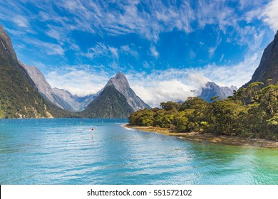 Dramatic clouds over Milford Sound fiord view
