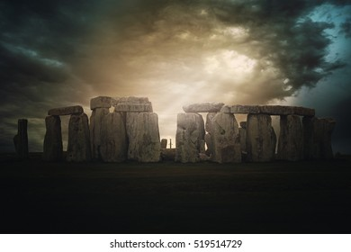Dramatic cloudscape over Stonehenge .Fantasy manipulation